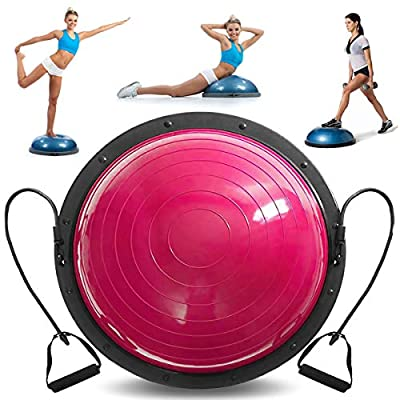 VEVOR Balance Trainer Ball 23 Inch Balance Trainer Blue Yoga Balance Ball Fitness Strength Exercise Workout with Resistance Bands and Pump (Pink)