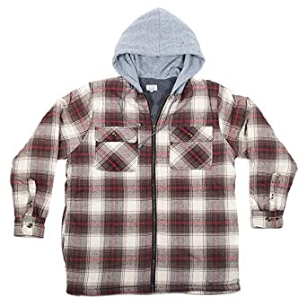North 15 men 39 s hooded flannel shirt polar fleece lining for Zip front flannel shirt