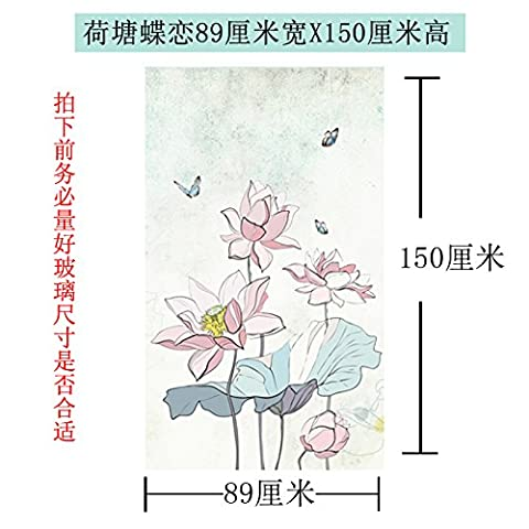 ASIBG Home Matte Glass Sticker Translucent Opaque Glass Foil Electrostatic Film Toilet Window Stickers Pure Matte Pond Butterfly 89Cm Wide × 150Cm (Butterfly Pond Kit)