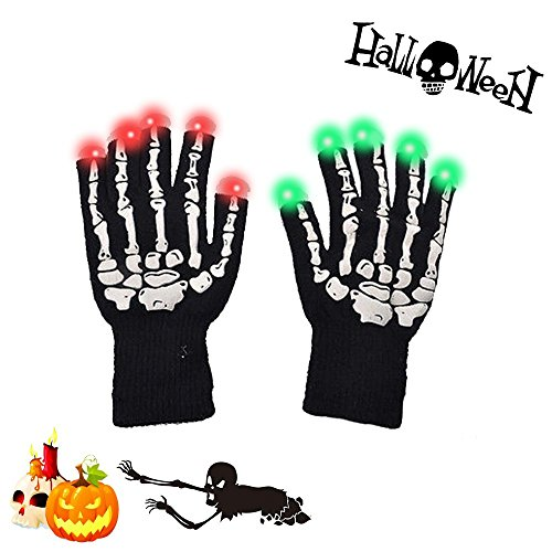 LED Gloves-Flashing Light Finger Gloves,Skeleton Hand 6 Modes Gloving & Lightshow Dancing Gloves for Clubbing, Rave,Halloween, Birthday, EDM, Disco, and Dubstep Party. (Dubstep Light Show Halloween)