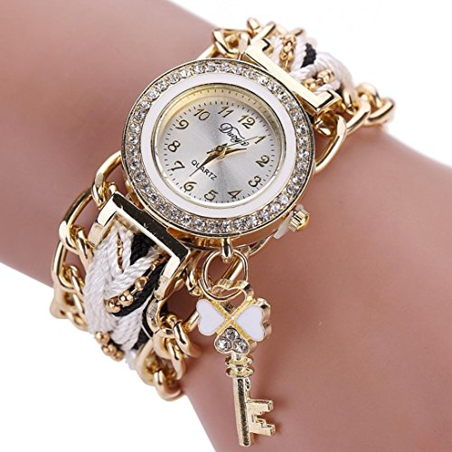 Leoy88 Women Watch Braided Wrist Rhinestone Analog Quartz Watch