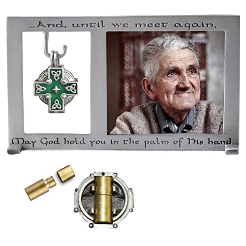 Irish Urn - Cathedral Art PF403 Celtic Memorial Frame with Vial for Ashes, 5-1/4 by 3-Inch