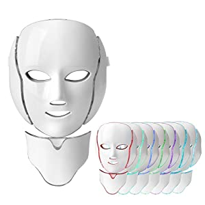 7 Colors LED Face Rejuvenation Mask for Facial and Neck Anti-aging Collagen Wrinkles Scarring Therapy Facial Skin Care Mask