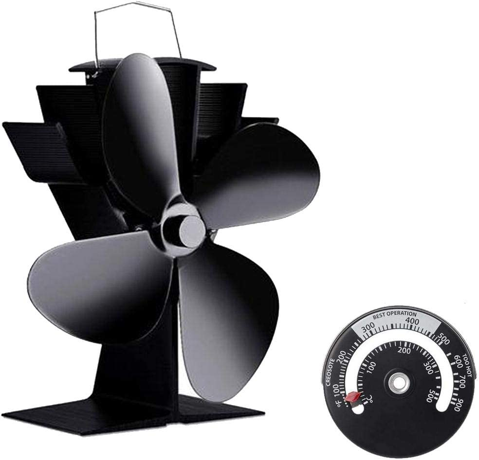 140 ° F / 60 ° C Arranque Silencioso Ventilador De Estufa De Leña Alimentado Por Calor, Ventilador De Chimenea Silencioso, 4 Aspas Negro Pequeño Para Estufas De Gas/Pellets/Leña/Leña