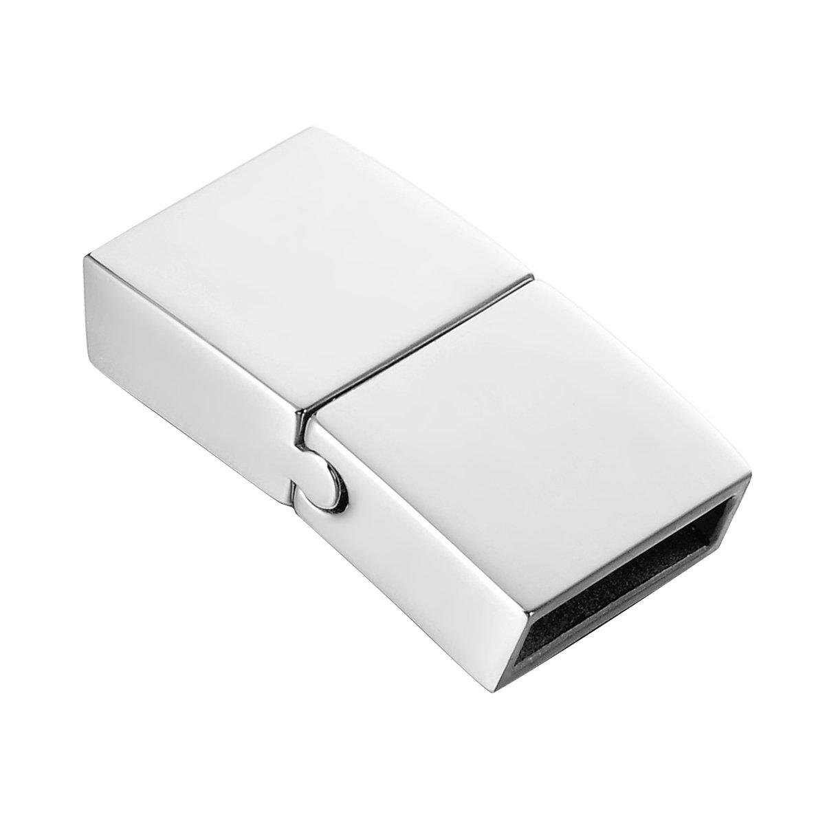 22.4mmx12.0mm HooAMI Edelstahl Handpoliert Lederband Magnetverschluss f/ür 10mmx3mm