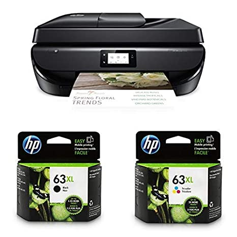HP OfficeJet 5255 Wireless All-in-One Printer, HP Instant Ink & Amazon Dash Replenishment ready (M2U75A) with XL High Yield Ink Cartridges Bundle