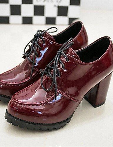 ZQ hug Zapatos de mujer-Tacón Robusto-Tacones-Tacones-Exterior / Casual-Semicuero-Negro / Bermellón , black-us8 / eu39 / uk6 / cn39 , black-us8 / eu39 / uk6 / cn39 burgundy-us8 / eu39 / uk6 / cn39