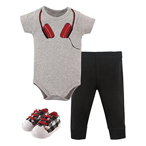 Little Treasure Baby Bodysuit, Pant and Shoe Set, Headphones, 9-12 Months