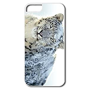 IPhone 5S Cases, Snow White Leopard Wide Cases For IPhone 5 5S - White Hard Plastic Kimberly Kurzendoerfer