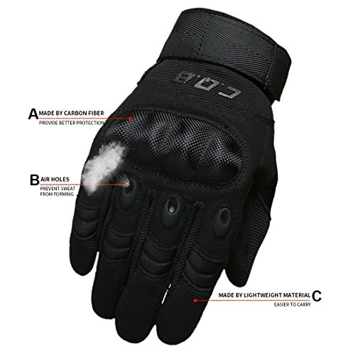 CQB Outdoor Hiking Riding Cycling Tactical Carbon Fibre Armor Men's Gloves (Black Fullfinger, XXL)