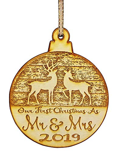 Wedding Collectibles Our First Christmas Ornament (2019) Mr. and Mrs. Couples Tree Hanger | Vintage Birchwood Craftsmanship | Classic Collectible Keepsakes & Heirlooms