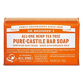 Dr. Bronner's - Pure-Castile Bar Soap (Tea Tree, 5 ounce, 2-Pack) - Made with Organic Oils, For Face, Body, Hair and Dandruff, Gentle on Acne-Prone Skin, Biodegradable, Vegan, Non-GMO 5 MOISTURIZING LATHER THAT WON'T DRY YOUR FACE, BODY, OR HAIR: Our bar soaps produce a rich lather that won't dry out your skin! Dr. Bronner's is made with only the purest certified organic oils and will leave your skin feeling soft and smooth. MADE WITH ORGANIC OILS THAT ARE GENTLE and EFFECTIVE: We don't add any chelating agents, dyes, whiteners, or synthetic fragrances—only all-natural, vegan ingredients that are gentle, effective, and mild. Use on your face, body, or hair! NO SYNTHETIC PRESERVATIVES, DETERGENTS, OR FOAMING AGENTS: Our Pure-Castile Bar Soap is made with plant-based ingredients you can pronounce—no synthetic preservatives, thickeners, or foaming agents—good for the environment and great for your skin!