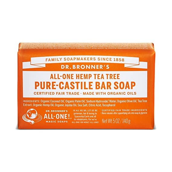 Dr. Bronner's - Pure-Castile Bar Soap (Tea Tree, 5 ounce, 2-Pack) - Made with Organic Oils, For Face, Body, Hair and… 1 MOISTURIZING LATHER THAT WON'T DRY YOUR FACE, BODY, OR HAIR: Our bar soaps produce a rich lather that won't dry out your skin! Dr. Bronner's is made with only the purest certified organic oils and will leave your skin feeling soft and smooth. MADE WITH ORGANIC OILS THAT ARE GENTLE and EFFECTIVE: We don't add any chelating agents, dyes, whiteners, or synthetic fragrances—only all-natural, vegan ingredients that are gentle, effective, and mild. Use on your face, body, or hair! NO SYNTHETIC PRESERVATIVES, DETERGENTS, OR FOAMING AGENTS: Our Pure-Castile Bar Soap is made with plant-based ingredients you can pronounce—no synthetic preservatives, thickeners, or foaming agents—good for the environment and great for your skin!