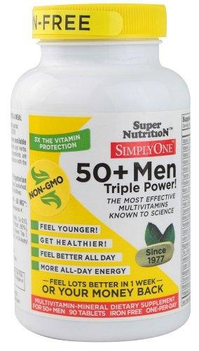 Супер Nutrition - просто один 50+ Мужчины Железный бесплатно - 90 Вегетарианские Таблетки