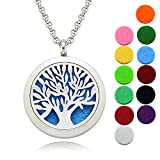 Tree of Life Aromatherapy Jewelry/Lademayh Diffuser Necklace/30mm Magnetic Stainless Steel Diffuser Locket