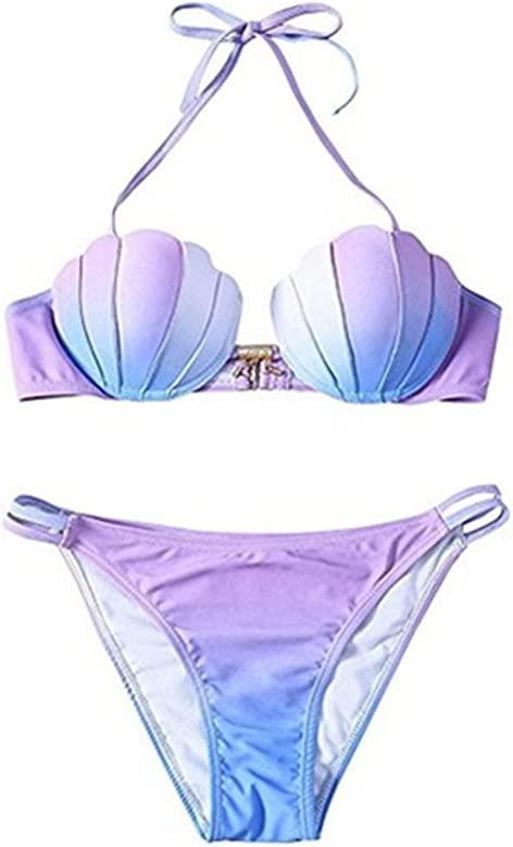 Rainbow Fox Verano Trajes de baño Mujer Traje de baño Sirena Bikini señoras Cáscara Bikini Conjunto, gradiente Color