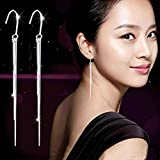 HuntGold 1 Pair Chic Women's Silver Long Tassel Earrings Dangle Ear Hook Drop Jewellery