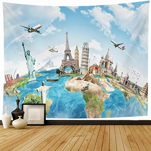 Ahawoso Tapestry Wall Hanging 60x50 International Blue Globe Travel World Monument London Map Flight Earth Europe Design Planet Home Decor Tapestries Decorative Bedroom Living Room Dorm