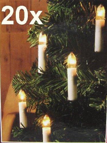 Illuminazione natalizia, catena luminosa con 20 candele a LED con Clip (finitura cromata) Land-Haus-Shop