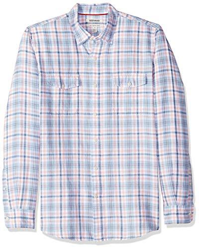 (Goodthreads Men's Slim-Fit Long-Sleeve Linen and Cotton Blend Shirt, Blue/Pink Plaid, Small)