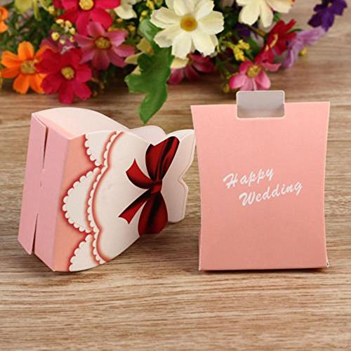 Unmengii 50pcs Top Selling for Parties Celebrations Holiday Gift Toy Party Supply Accessory Candy Gift Box Wedding Favors Boxes Bride Groom Tuxedo Dress Gown Wedding Decoration