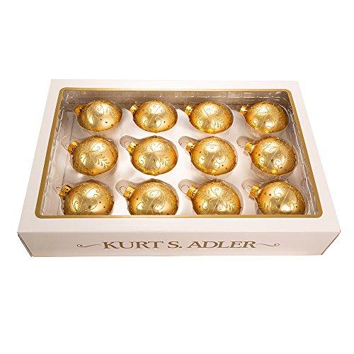 Kurt Adler 60mm Gold With Pattern Glass Ball, Set of 12 - Gold Glass Ornament