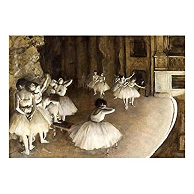 The Rehearsal of The Ballet Onstage by Edgar Degas - Founder of French Impressionism - Dancers in Pastel - Peel and Stick Large Wall Mural, Removable Wallpaper, Home Decor - 66x96 inches