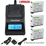 Kastar Ultra Fast Charger(3X faster) Kit and Battery (3-Pack) for GoPro HERO4 and GoPro AHDBT-401, AHBBP-401 Sport Cameras [Over 3x faster than a normal charger with portable USB charge function]