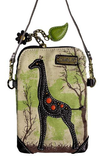 (Chala Crossbody Cell Phone Purse - Women Canvas Multicolor Handbag with Adjustable Strap (Giraffe - Safari Sand))