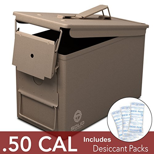 Solid Tactical New 50 Cal Metal Ammo Can - Military & Army M2A1 Steel Waterproof Ammo Box for Long Term Storage in Flat Dark Earth