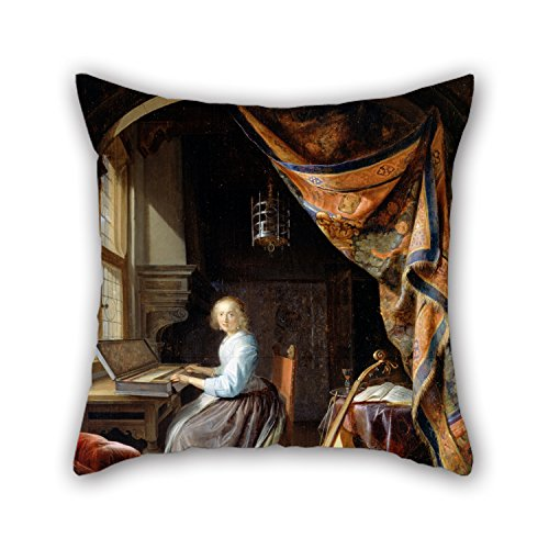 [Elegancebeauty 18 X 18 Inches / 45 By 45 Cm Oil Painting Dou, Gerrit - A Woman Playing A Clavichord Cushion Cases ,twice Sides Ornament And Gift To Dance Room,outdoor,him,pub,teens] (Punk Rocker Girl Costume Ideas)
