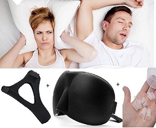 Anti Snoring Chin Strap Snore Relief, Best Snoring Remedy, Set of 3 Snore Aid Devices for Men and Women, Stop Snore Nose Vents + Premium Soft Silk Sleep Eye Mask - by Blue-Orange