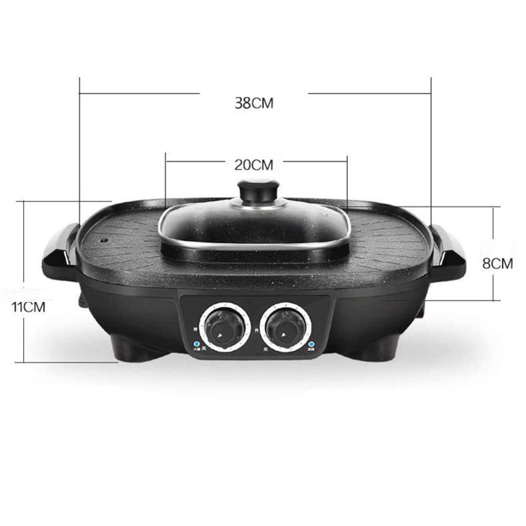 WSJTT Electric Grill with Hot Pot,Non-Stick Coating Surface,Hot Pot with Glass Lid,Multifunction Two-in-one Electric Smokeless Non-Stick Barbecue Grilled Shabu-shabu 1900W 220V by WSJTT (Image #6)