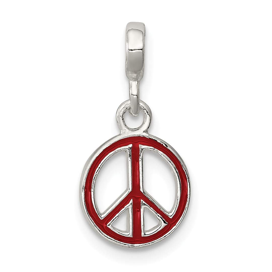 ICE CARATS 925 Sterling Silver Red Enameled Peace Sign Enhancer Necklace Pendant Charm Fine Jewelry Ideal Gifts For Women Gift Set From Heart
