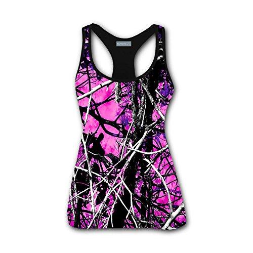 (MOSDELU Muddy Girl Camo Pink Women's Tank Top T-Shirt S)