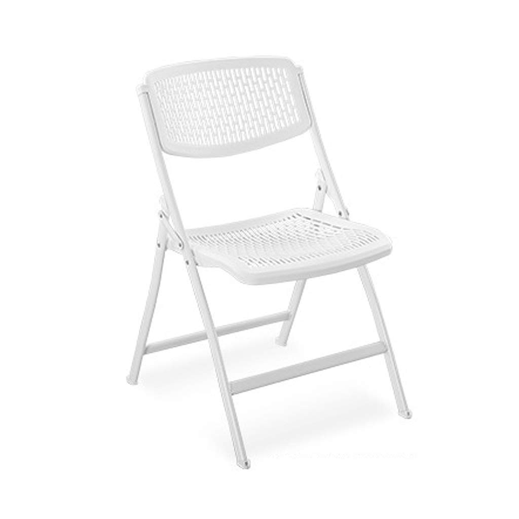 White CCF Household Folding Chair Student Dormitory Computer Chair Leisure Chair Simple Office Chair Conference Chair Stool Chair C (color   White)