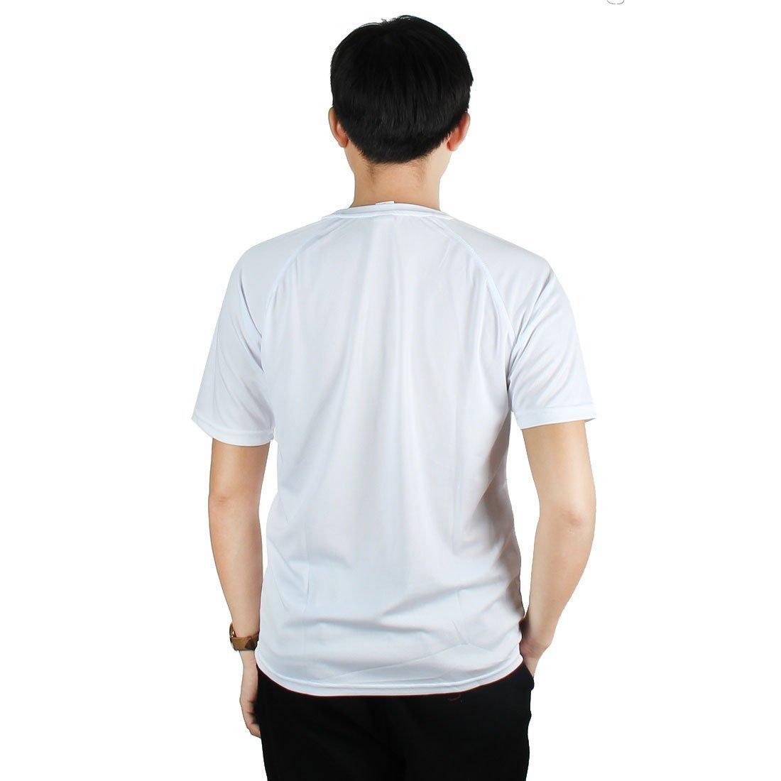 Amazon.com : eDealMax Hombres Ejercicio Publicidad, poliéster, secado rápido y transpirable de Manga Corta Deportes Camiseta, XL/L (Los 44) Blanca : Sports ...