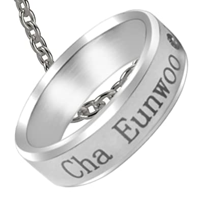 NationInFashion Cha Eunwoo ASTRO KPOP titanium birthday ring necklace with  Chain