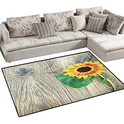 Nantucket Floral Picture Frame - Sunflower Door Mats for Inside Sunflower on Wooden Old Board Bouquet Floral Mother Earth Artsy Photo Bath Mat for Bathroom Mat 55
