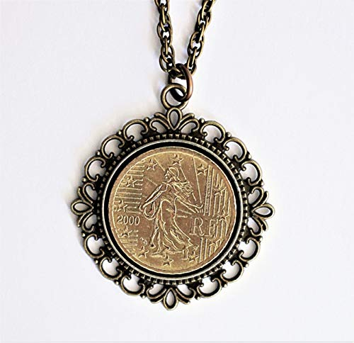 France 50 Euro Coin Necklace Pendant French Sower 2000