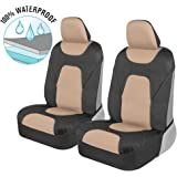 Motor Trend AquaShield Car Seat Covers for Front Seats, Beige – 3 Layer Waterproof Seat Covers, Neoprene Material with Modern