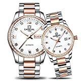 Sapphire - His Hers Couples Watches Gift Set - stainless steel Strap - Rose Gold