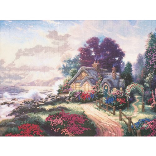 M C G Textiles Thomas Kinkade a New Day Dawning Embellished Cross Stitch Kit, 12 by 16-Inch ()