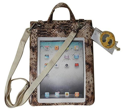 Emboss Brown Python Pattern Messenger Bag for tablets,with phone pocket & clear window for tablet seamless use, Pad Pocket