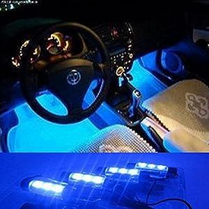 docooler 12v 12 led car auto interior atmosphere lights decoration lamp blue cell