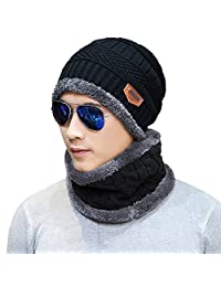 Naisidier Men's Winter Beanie Hat Scarf Set Warm Wool Knitted Skull Cap