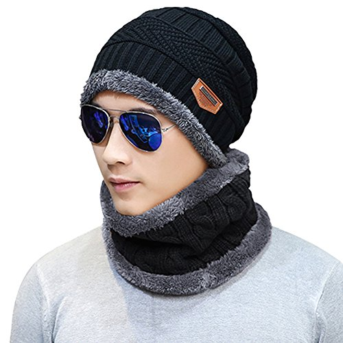 Naisidier Mens Winter Beanie Hat Scarf Set Warm Knitted Skull Cap with Neck Cover for Men and Women, Black
