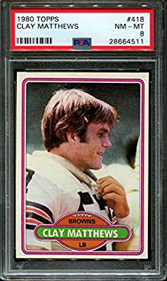 1980 Topps #418 Clay Matthews Rc Browns Psa 8 F2375755-429