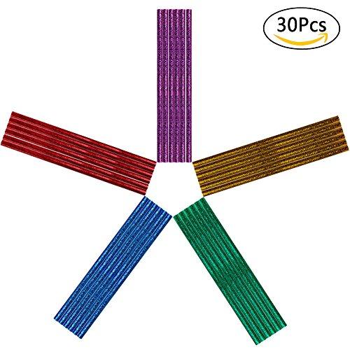 "Ofilon Glitter Glue Sticks, 7mm/0.27"" Diameter, 200mm/7.87"" Length, Upgrade Adhesive Hot Mini Melt Glue Sticks for (20-30W ) Hot Glue Gun DIY Arts & Crafts, Home, Offices, Party Design (30PCS)"