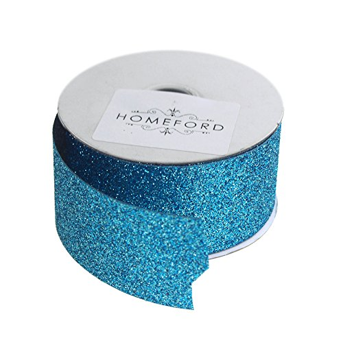 Homeford Princess Glitter Metallic Christmas Ribbon, 1-1/2-Inch, 4 Yards (Ice Blue) (Metallic Blue Ribbon)